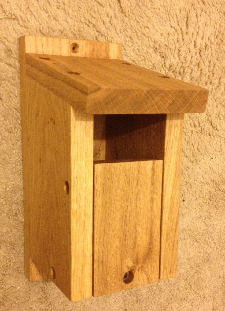 Solid oak nesting box with open front for Robins & wrens.