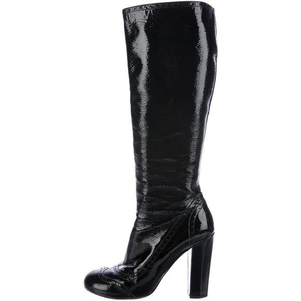 Pre-owned Miu Miu Brogue Knee-High Boots (1,095 CNY) ❤ liked on Polyvore featuring shoes, boots, black, patent leather boots, knee-high boots, black knee-high boots, patent leather knee high boots and black knee boots