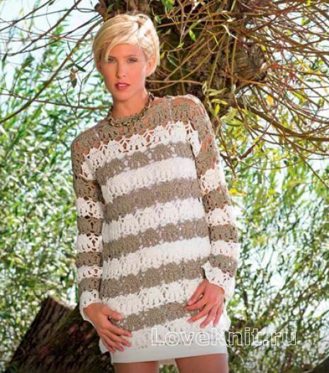 Удлиненный ажурный пуловер в полоску схема крючком » Люблю Вязать