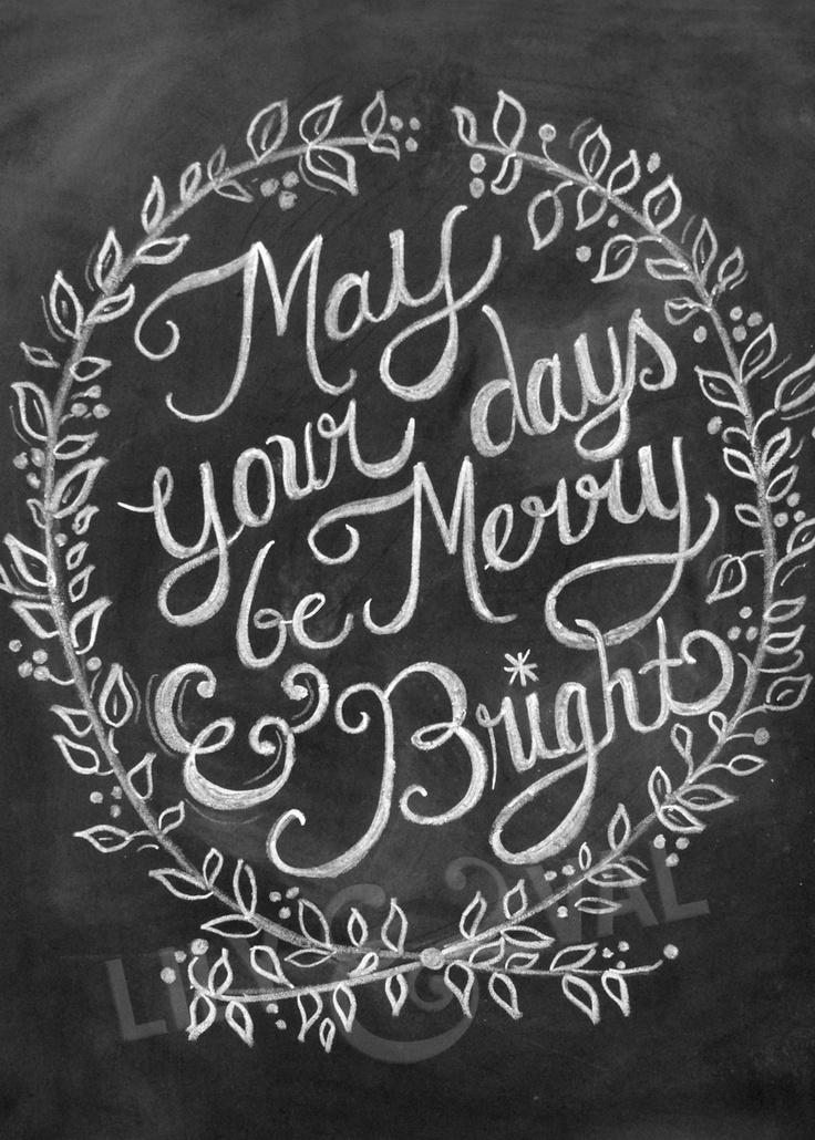 Chalkboard Christmas Card - Chalk Art - Holiday Chalkboard Art - Digital Christmas Image- Non Photo Christmas Card. via Etsy.