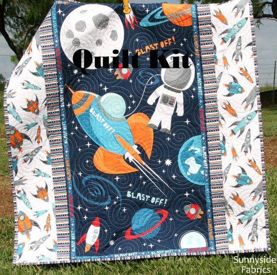 Boy quilt kit blast off wilmington fabrics space for Space baby fabric