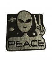 BRAND NEW LICENSED ALIEN PEACE SYMBOL EMBROIDERED PATCH Patch Measures Approx. 2.75 Inches Wide by 3 Inches Tall Patch can be sewn, ironed or glued on. (Check out our Store for more Novelty Patch Prod