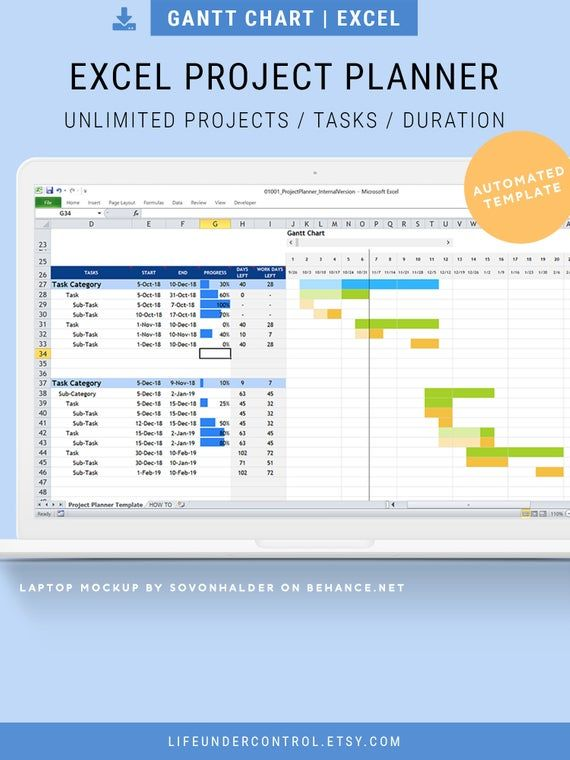 Project Planner Excel Spreadsheet Automated Gantt Chart Timeline