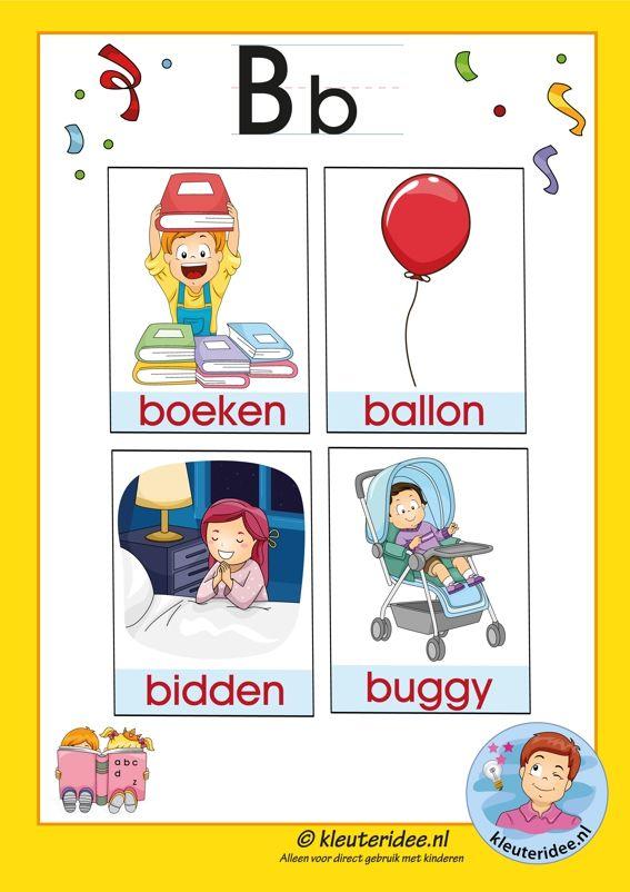 Pakket over de letter b blad 3a, woorden met een b, kleuteridee, free printable.