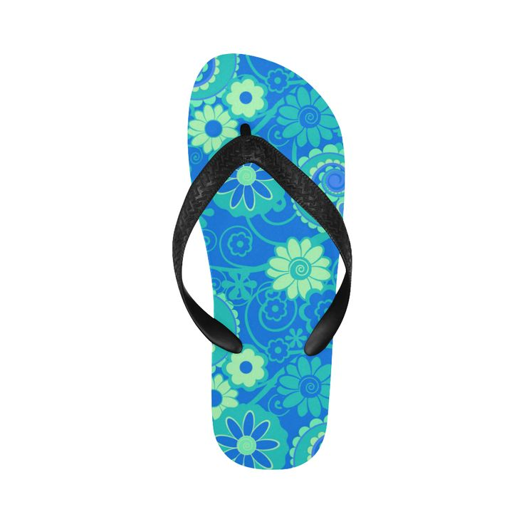 Print Flip Flops Blue Green Fun Flowers Print Flip Flops for Men/Women