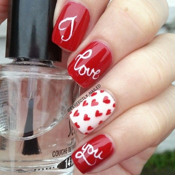 """I Love You"" Valentine's Day Nails by perfectly_nailed! Valentine's Day Nail Art Ideas: Part I: http://www.beautytipsntricks.com/blog/valentines-day-nail-art-ideas-part-i/ #valentinenails"