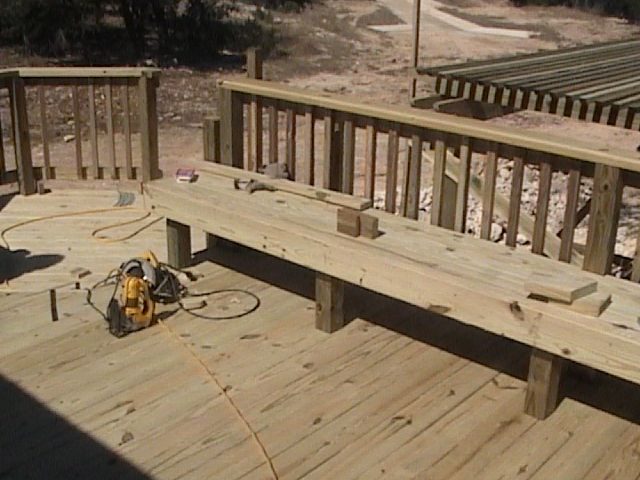 Deck Table Ideas find this pin and more on deck ideas Like The Idea Of Having Benches Around The Railing Of The Deck