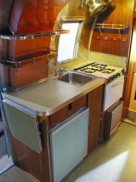 Airstream Kitchen: Trailers Kitchens, Benches Spaces, Vintage Airstream, Dream Trailers, 1968 Airstream, Travel Trailers, Someday Airstream Kitchens, Airstream Caravel, Airstream Trailers