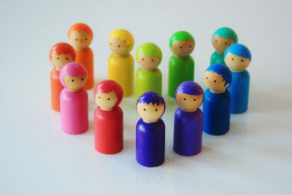 Love Is A Rainbow  Rainbow Gnomes  Color Blends  Wooden by Zooble (Because Little People now contain lead.)