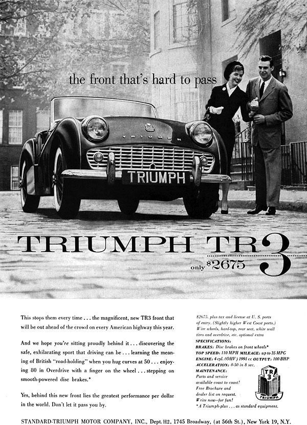1958 Magazine Ad, Triumph TR 3 British Sports Car. The Front That's Hard.