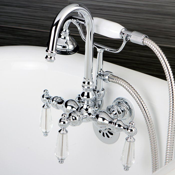 Wilshire Triple Handle Wall Mounted Clawfoot Tub Faucet Trim With