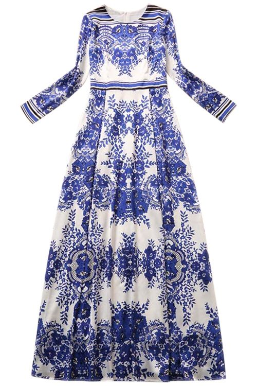 Blue and White Porcelain Printed Long Sleeves Maxi Dress