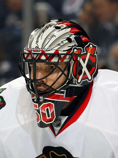 WINNIPEG, MB - FEBRUARY 10: Goaltender Corey Crawford #50 of the Chicago Blackhawks looks on during third period action against the Winnipeg Jets at the MTS Centre on February 10, 2017 in Winnipeg, Manitoba, Canada. (Photo by Jonathan Kozub/NHLI via Getty Images)