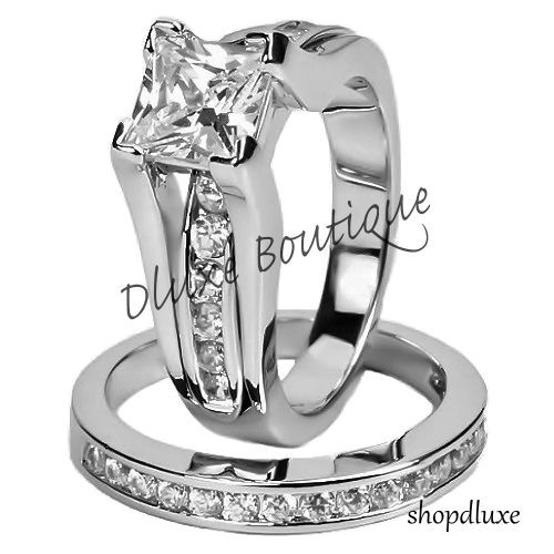 Womens Stainless Steel Princess Cut AAA CZ Wedding Ring Set Size 56789 10
