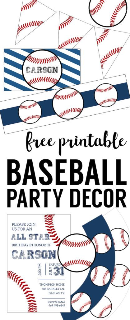 Free Baseball Printables {Baseball Party Decorations}. Baseball birthday party decorations, boy baby shower decor, or mlb world series, or baseball or softball team party DIY decor.