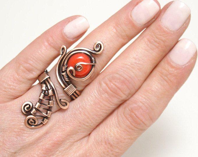 filo di rame con fili di corallo anello avvolto gioielli filo di rame fatti a mano gioielli filo avvolto anello fatto a mano