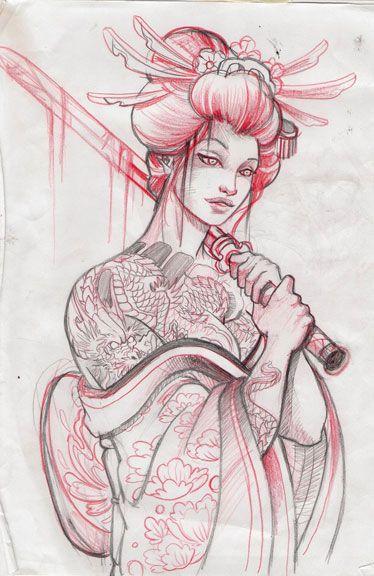 Japanese geisha sketch - Google Search