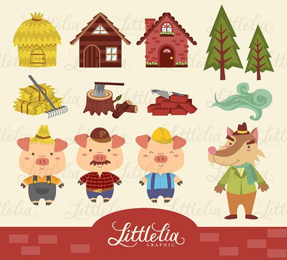 Three Little Pig Clipart - 13009 on Etsy, $3.60