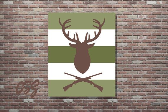 Hunting Sign Hunting Poster Deer Mount Decor by CottageArtShoppe                                                                                                                                                     More