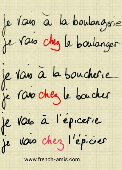 Chez, au, à la. ... www.french-amis.com: