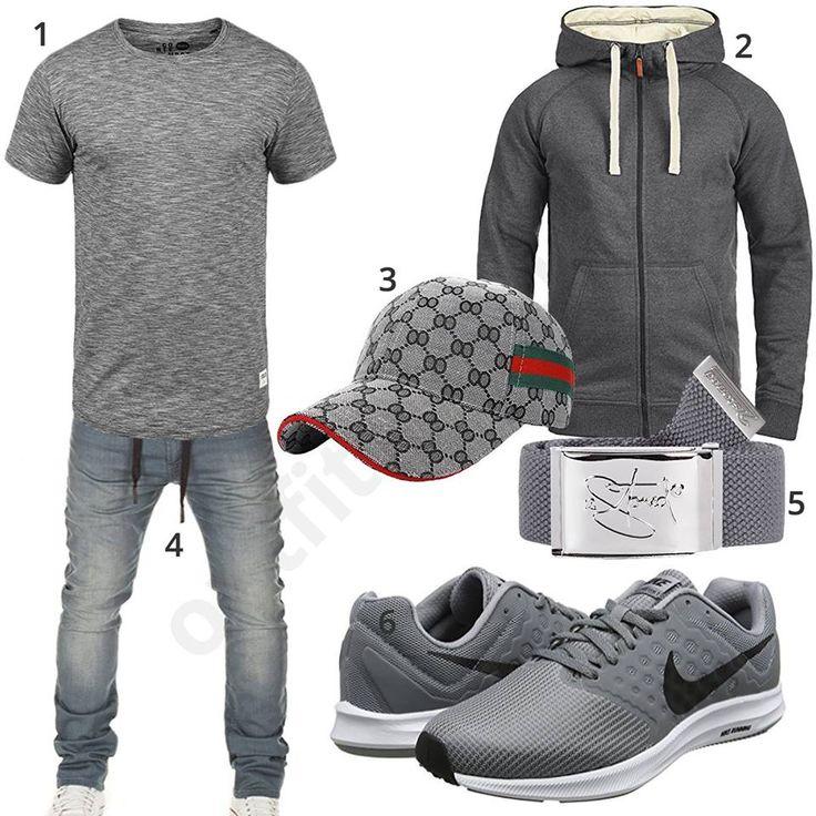 Graues Herren-Outfit mit Solid T-Shirt, Blend Hoodie, Ukerdo Sport-Cap, Wotega Sweat-Jeans, 2stoned Stoffgürtel und Nike Schuhen.