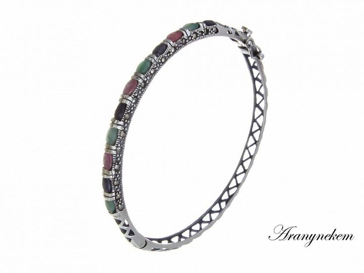 Rubin és smaragd köves ezüst karperec