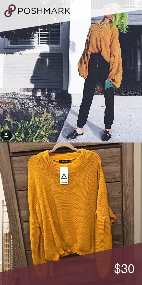 Mustard Balloon Sleeve Jumper Amazing, new sweater from a UK boutique called Lasula. Size S/M, but would fit a variety of sizes since it's meant to be so oversized. Nasty Gal Sweaters Crew & Scoop Necks