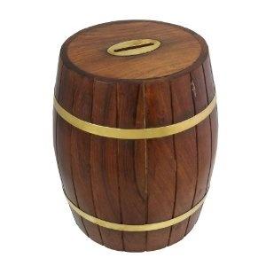 Tonneau tirelire en bois design - Boîte d'épargne décorative: Amazon.fr: Jeux et Jouets