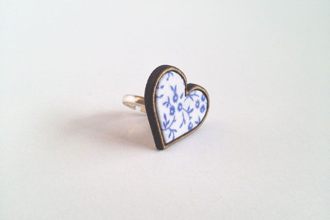 White and Blue Heart ring by Kosbaar