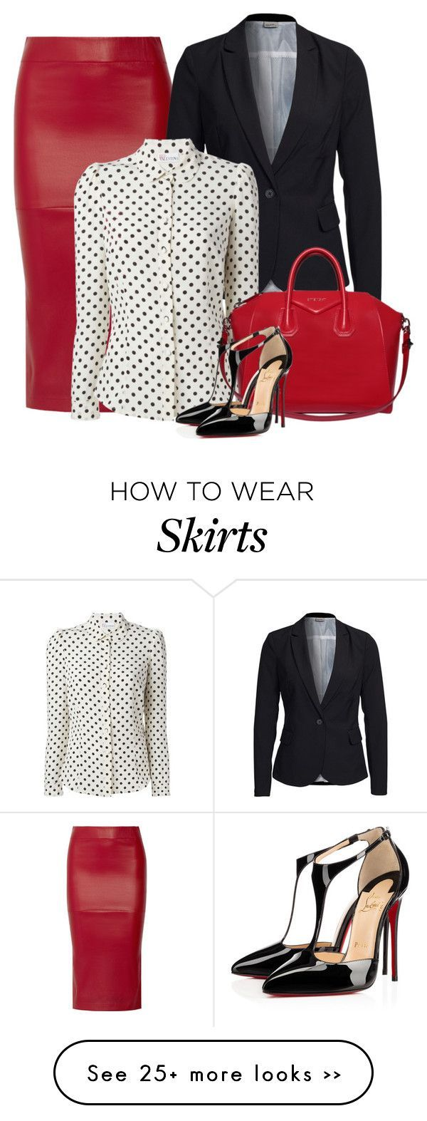 """""""Leather office skirt"""" by danigrll on Polyvore featuring Zero + Maria Cornejo, Vero Moda, RED Valentino, Givenchy and Christian Louboutin"""