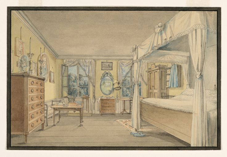 Drawing, Interior of a Bedroom, 1820s. This view features a woman's bedroom, identified as such by the bonnet next to the ribbon-framed mirror and the blue slippers at the foot of the bed.