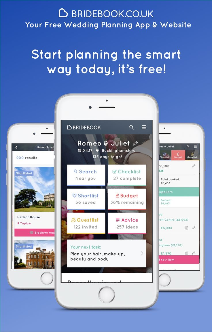 Getting married? Sign up for free to Bridebook and say 'hello' to stress-free wedding planning. The app & website that has everything you need - checklist, guestlist manager, budget calculator and supplier search. We're here to help you plan the adventure of a lifetime!