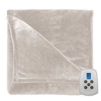 Serta Comfort Plush Electric Heated Blanket Color: Sand, Size: Queen