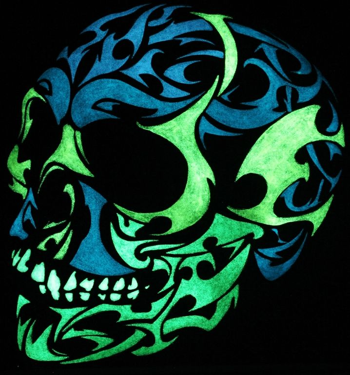 "Nice Saatchi Online Artist: Twilight Vision; Paint 2012 Painting ""3D glow in the dark skull"""