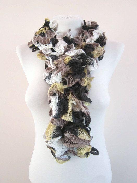 Knit Scarf Fall Fashion Frilly scarf Ruffled Scarf by scarfnurlu