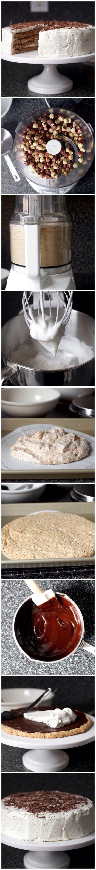 Шоколадно-ореховый торт без муки  Ингредиенты  ванильный экстракт  1 ч. л.  взбитые сливки  1.5 стакана  вода  1/4 стакана  горький шоколад  170 г  орехи (фундук)  350 г  растворимый кофе (порошок)  1 ч. л.  сахар (для глазури)  3 ст. л.  сахар (для коржей)  225 г  яичные белки  6 шт.   Приготовление: Коржи, как печенье макарун, взбитые сливки, фундук и шоколад - достаточно для любого сладкоежки) Первым делом измельчим орехи. Сюда же добавьте сахар (225 граммов) и щепотку соли. Вот так…