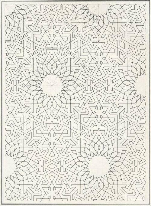 Islamic geometric pattern draft, c. 1840