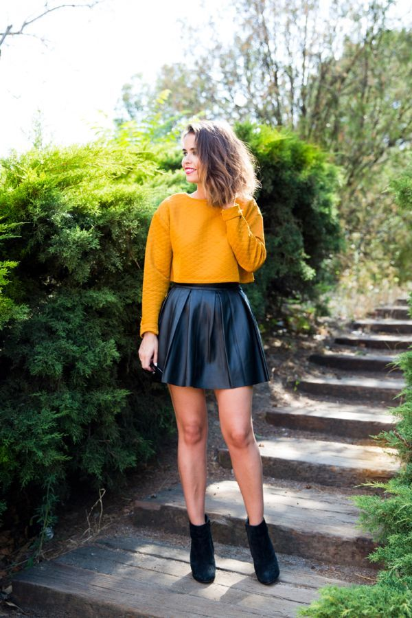 Mustard Quilted Cropped Top and Leather Skirt