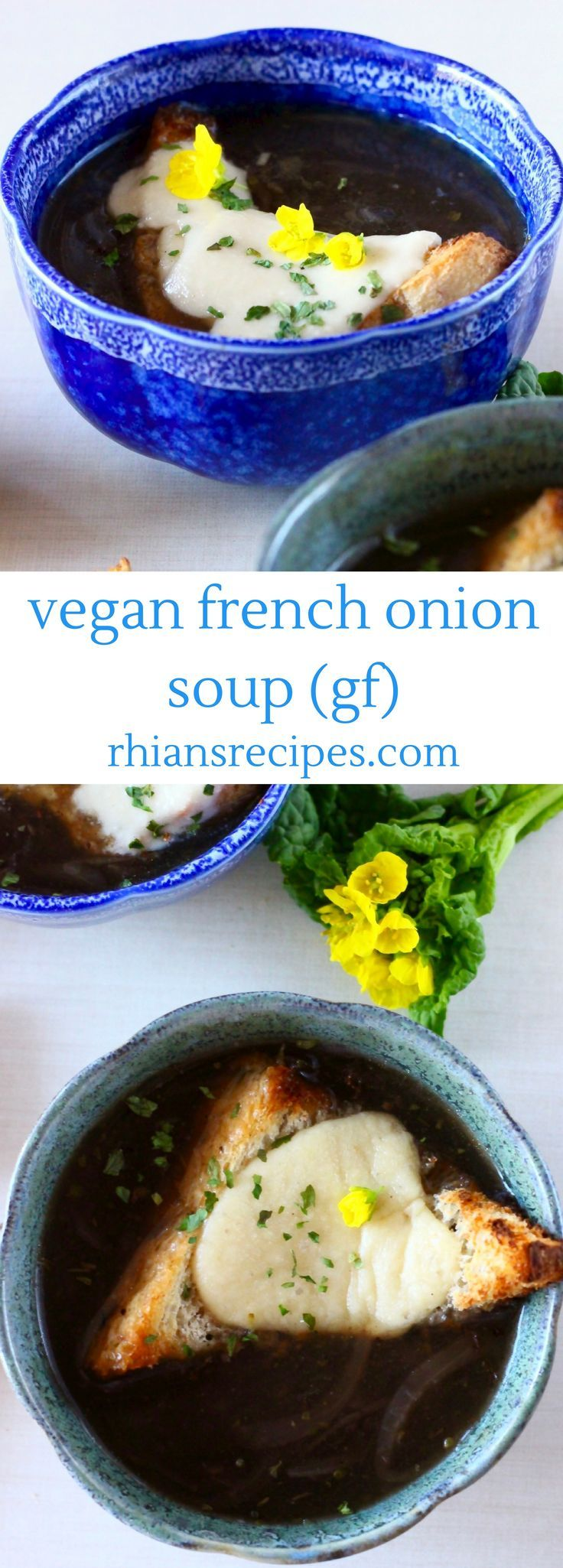 This Vegan French Onion Soup is so easy to make, super flavourful and topped with cheesy toast! Gluten-free.