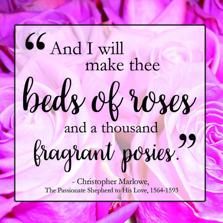 """""""And I will make thee beds of roses and a thousand fragrant posies."""" Christopher Marlowe, The Passionate Shepherd to His Love, 1564-1593    #mondaymotivation #quote #inspiration #flowers"""