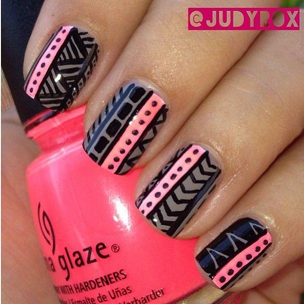 tribal nails- hot pink and black
