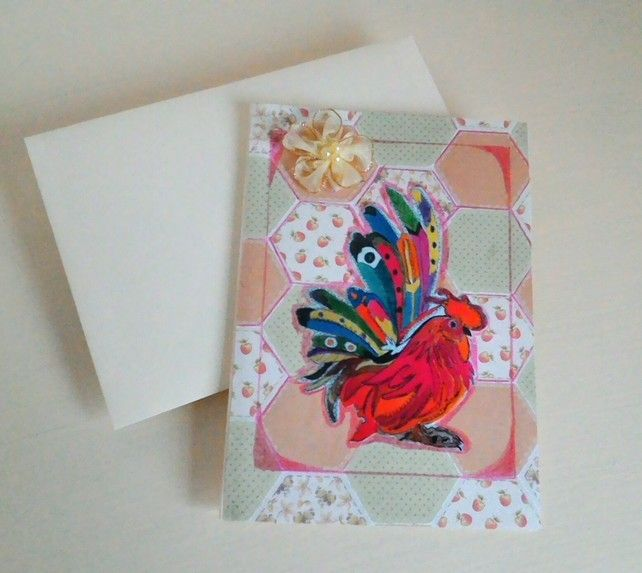 Rooster Card, Print Of Original, Decopage Unique Card, Blank For Own Message £2.95