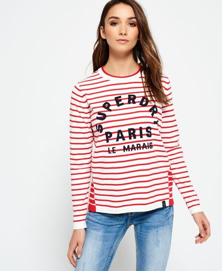 Shop Superdry Womens Le Marais Stripe Knit Jumper in Deep Red/cream. Buy  now with free delivery from the Official Superdry Store.