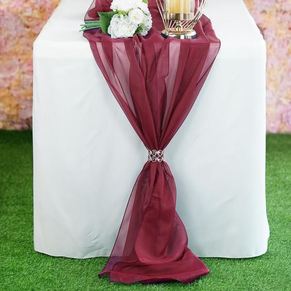 6 Ft Burgundy Premium Chiffon Table Runner Burgundy Wedding