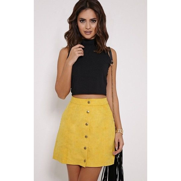 Cheryl Mustard Suede Button Front Skirt (£10) ❤ liked on Polyvore featuring skirts, yellow, knee length a line skirt, yellow a line skirt, mustard yellow skirt, suede button front skirt and mustard skirt