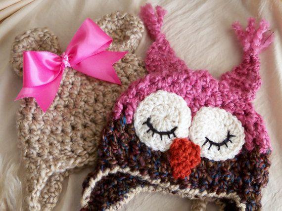Baby HatBears Hats, Owls Hats, Hats Pairings, Baby Owls, Girls Photos, Baby Hats, Baby Girls, Pairings Girls, Baby Bears