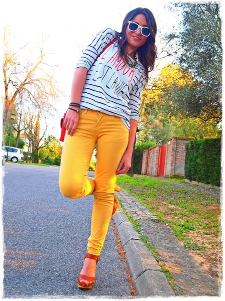 Yellow pants are the coolest - too bad I can't pull the look off.
