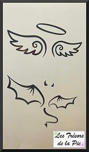 TATOUAGE-TEMPORAIRE-TATOO-x2-Body-art-Ailes-d-ange-et-de-diable-Noir
