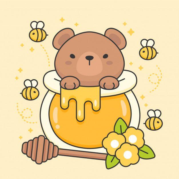 Character Of Cute Bear In A Honey Jar Cute Bear Drawings Cute Kawaii Drawings Cute Cartoon Drawings