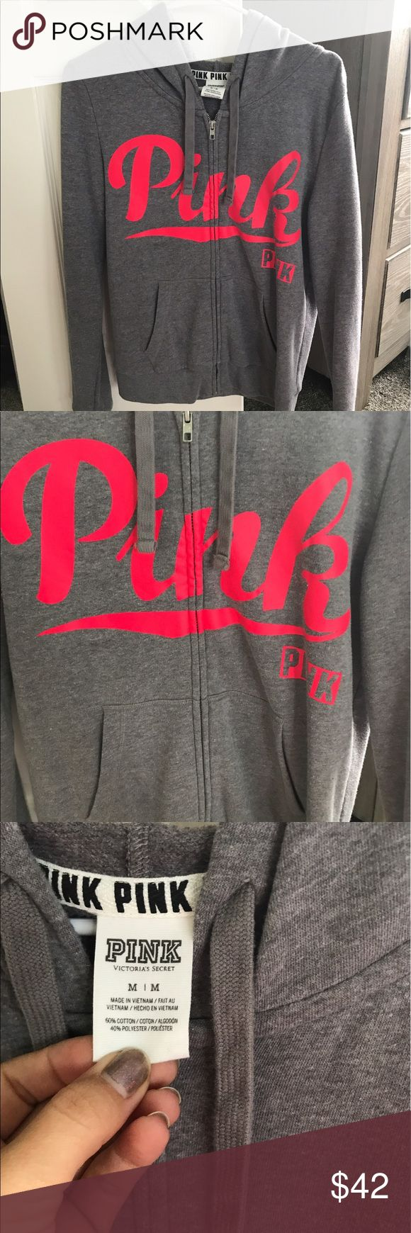 Victoria's Secret Pink zip up hoodie sweatshirt M Victoria's Secret Pink zip up hoodie jacket/sweatshirt in a size medium! Super cute! No flaws! Smoke free home! PINK Victoria's Secret Tops Sweatshirts & Hoodies